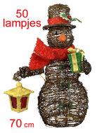 Rotan sneeuwman-figuur met lampjes (70 cm)