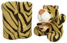 Pluche tijger met fleece deken