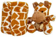 Pluche giraffe met fleece deken