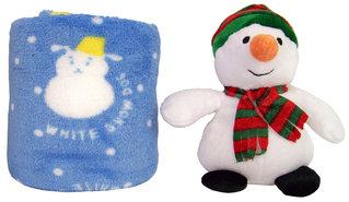 Pluche-sneeuwman-met-fleece-deken