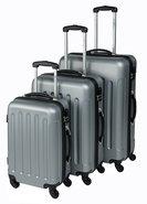 Trolleyset-Kofferset-ABS-Zilver-(3-delig)