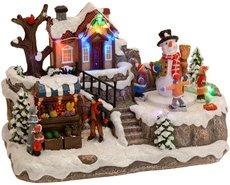 Kersttafereel-(huis-met-bewegende-sneeuwman)
