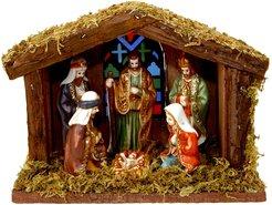Kerststal-met-Verlichting-(inclusief-6-beeldjes)