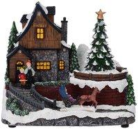 Kersttafereel-(huis-met-kerstboom)